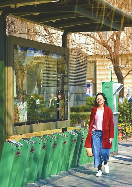 53处小绿车停车桩建成 济南版共享单车何