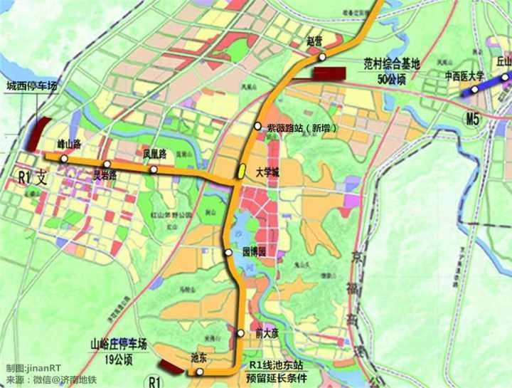 之前济南地铁微信公众号发布的R1线初稿显示预留了延长条件-郑济高图片