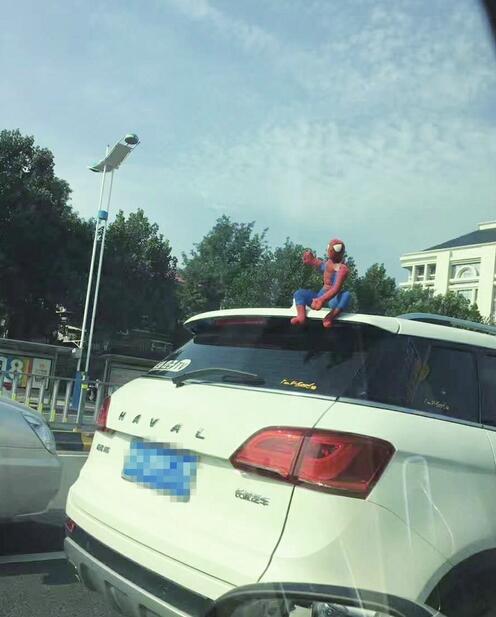 蜘蛛侠蹲坐车顶吸引眼球!交警提示玩偶不能随便放在车顶