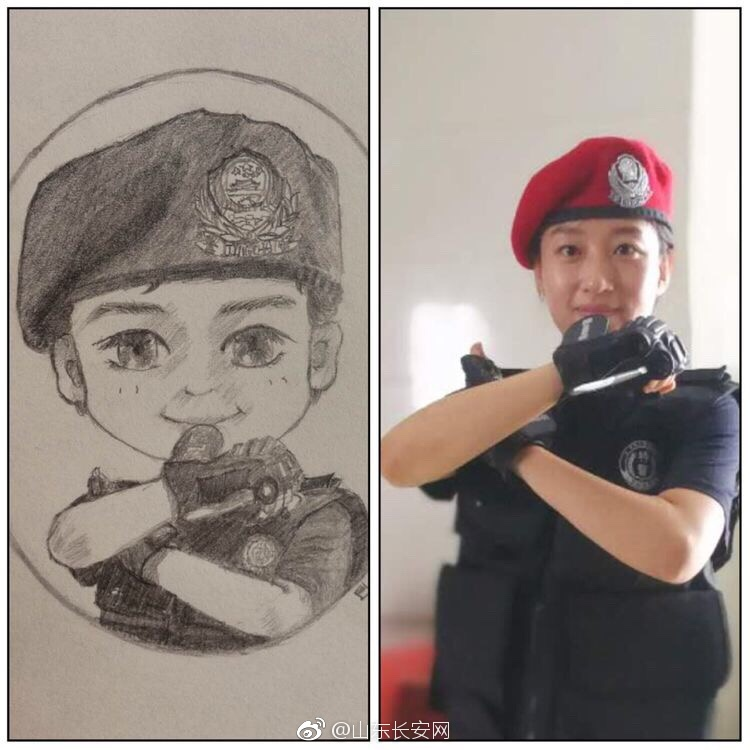 济南女特警画下同事执勤训练漫画 网友直呼可爱又帅气