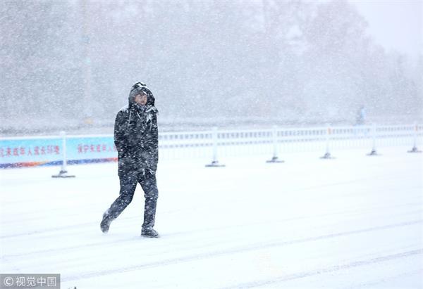 山东威海局部地区迎来中到大雪