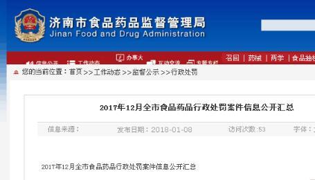 济南公布2017年12月食品药品处罚信息 涉华润万家大润发等