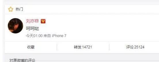 """刘亦菲突然说出""""呵呵哒"""" 深夜发文引发网友热论"""