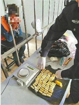 人体毒贩从云南辗转济南几近虚脱 藏毒量创近年新纪录
