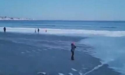 美国沙滩变溜冰场美国到底有多冷