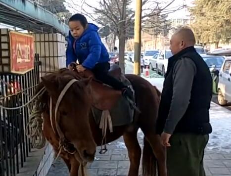 太酷了!骑马接儿子放学 吃瓜群众纷纷围观吐槽:这才是王子待遇