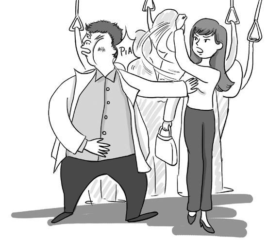 公交车上遇咸猪手 女子将猥琐男从车中间打到车尾