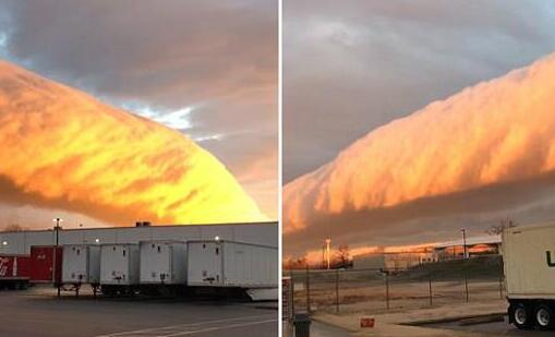 美国惊现牵牛花云 巨大的云层横亘在半空中似长龙蜿蜒