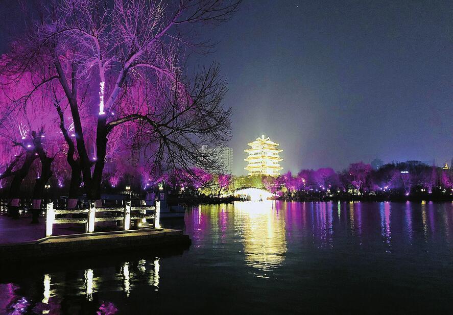 多彩夜景打造泉城新年味
