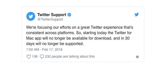 推特称Twitter for Mac停止开发 30天后无法使用