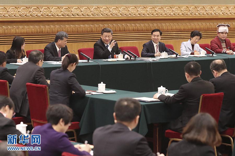 3月7日,中共中央总书记、国家主席、中央军委主席习近平参加十三届全国人大一次会议广东代表团的审议。