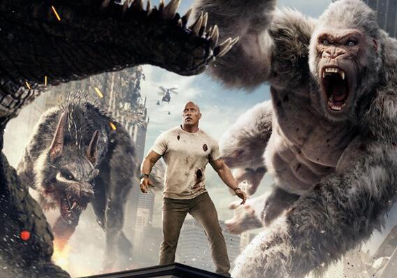 电影《狂暴巨兽》海报预告双发 巨石强森用中文问好
