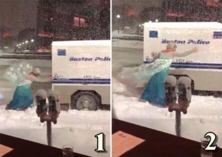 """冰雪奇缘!警用车卡在雪堆里 男版""""艾莎公主""""救援"""