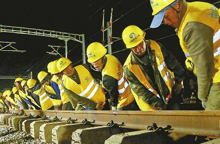 济青高铁胶州北站完成最大规模拨接