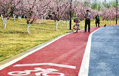 济南:骑行道亮相华山湖畔