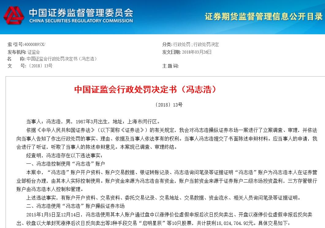 证监会开亿元罚单 冯志浩和孟祥龙两人违规操作获巨利