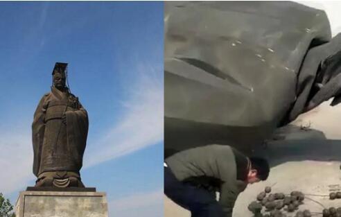 山东遭10级狂风袭击!秦始皇铜像被吹倒 煅铜造铜像重6吨