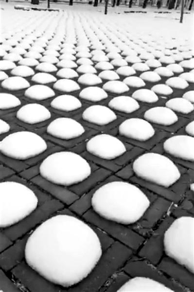北京一停车场现雪馒头:排列整齐,大小相近