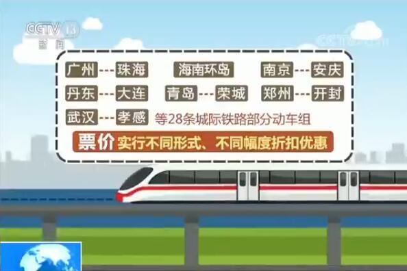 28条城际铁路动车组今日调价打折 多为短途线路
