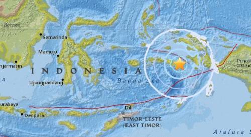 印尼东部发生地震:里氏5.5级 震源深度10.0公里 未启动海啸预警