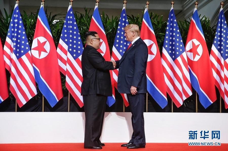 朝美领导人首次会晤在新加坡举行