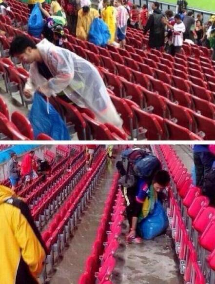 日球迷赛后捡垃圾 这种认真保护环境的行为真的很暖心!