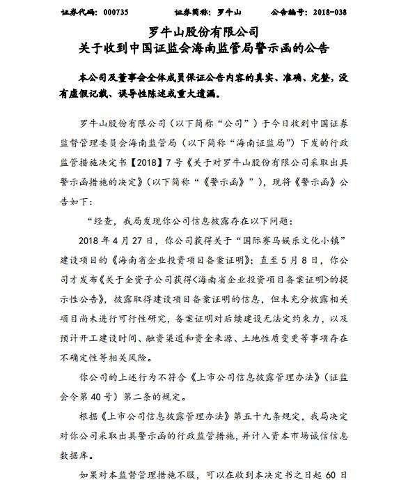 罗牛山赛马被海南证监局警示:涉嫌利用相关概念炒作公司股价