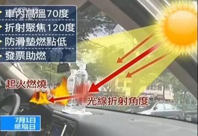 太可怕了!矿泉水致车内起火 原因是什么?这些东西千万别留在车里