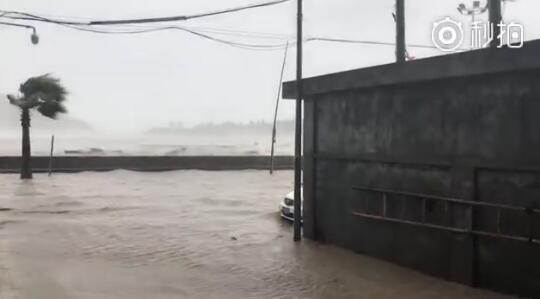 """都是""""玛利亚""""惹的祸!温州苍南海水倒灌 像闸门放水一样直接冲"""