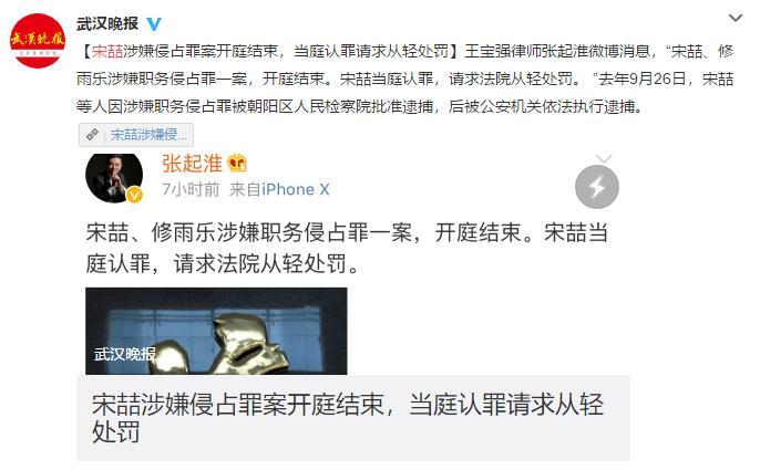宋喆职务侵占案 侵吞王宝强影视工作室资产232.5万被告求从轻发落