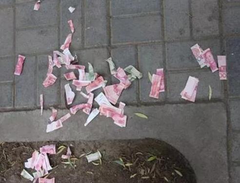 炫富狂魔?撕毁人民币被罚款 男子撕掉1102元还被罚款1800元