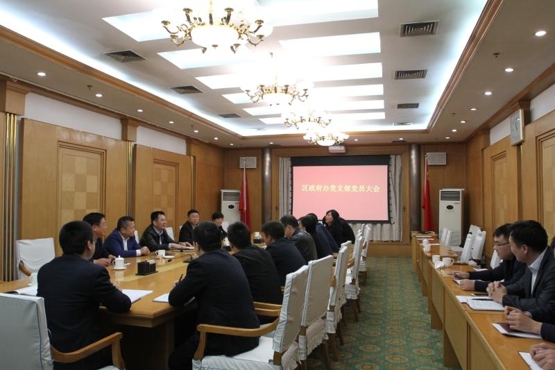 谢兆村同志以普通党员身份参加区政府办公室党支部党员大会