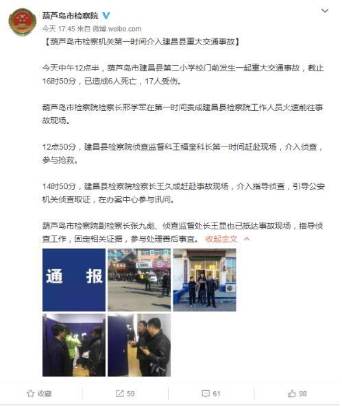 辽宁检察机关:葫芦岛多名学生被撞 致6人死亡17人受伤