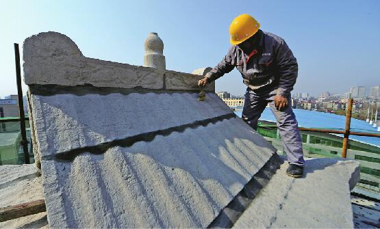 济南200余岁标山钟鼓楼首次修缮 工程将于4月20日竣工