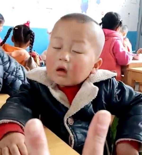 """太可爱了!男孩坐着睡觉走红 老师大喊""""放学了""""依然没叫醒"""