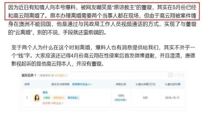曝董璇高云翔离婚 原因与6千万财产有关