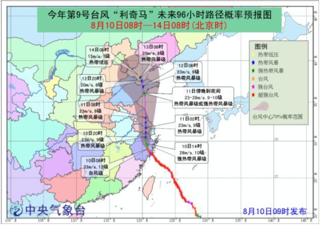 """济南市气象台09时30分发布台风""""利奇马""""预报和暴雨黄色预警信号"""