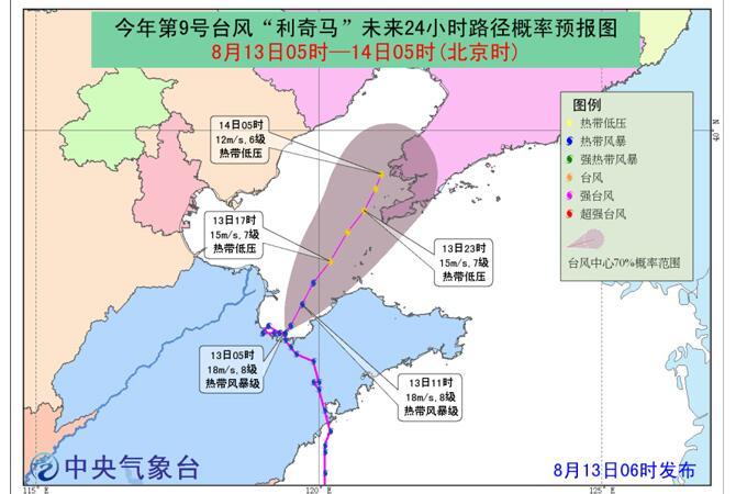 【台风路径实时发布系统】台风利奇马最新消息:向辽宁南部沿海靠近,强度减弱