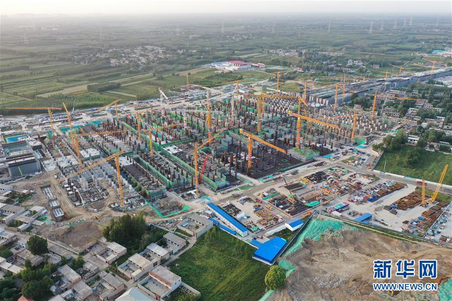 京雄城际铁路雄安站地下结构封顶