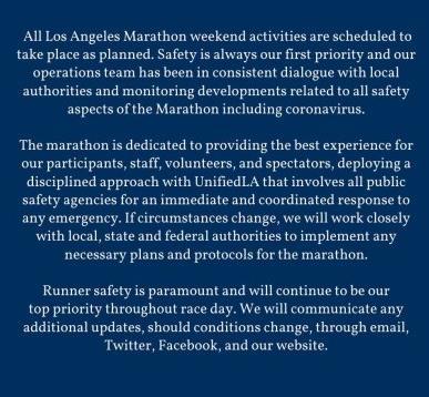 可长点心吧!洛杉矶马拉松坚持举办?疫情就在眼前了还要聚众跑步