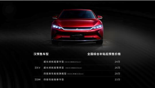 超越期待 比亚迪汉国内预售23万-28万元