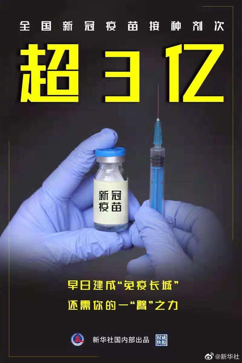 权威快报丨全国新冠疫苗接种超3亿剂次