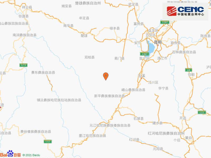 云南楚雄州双柏县附近发生5.0级左右地震