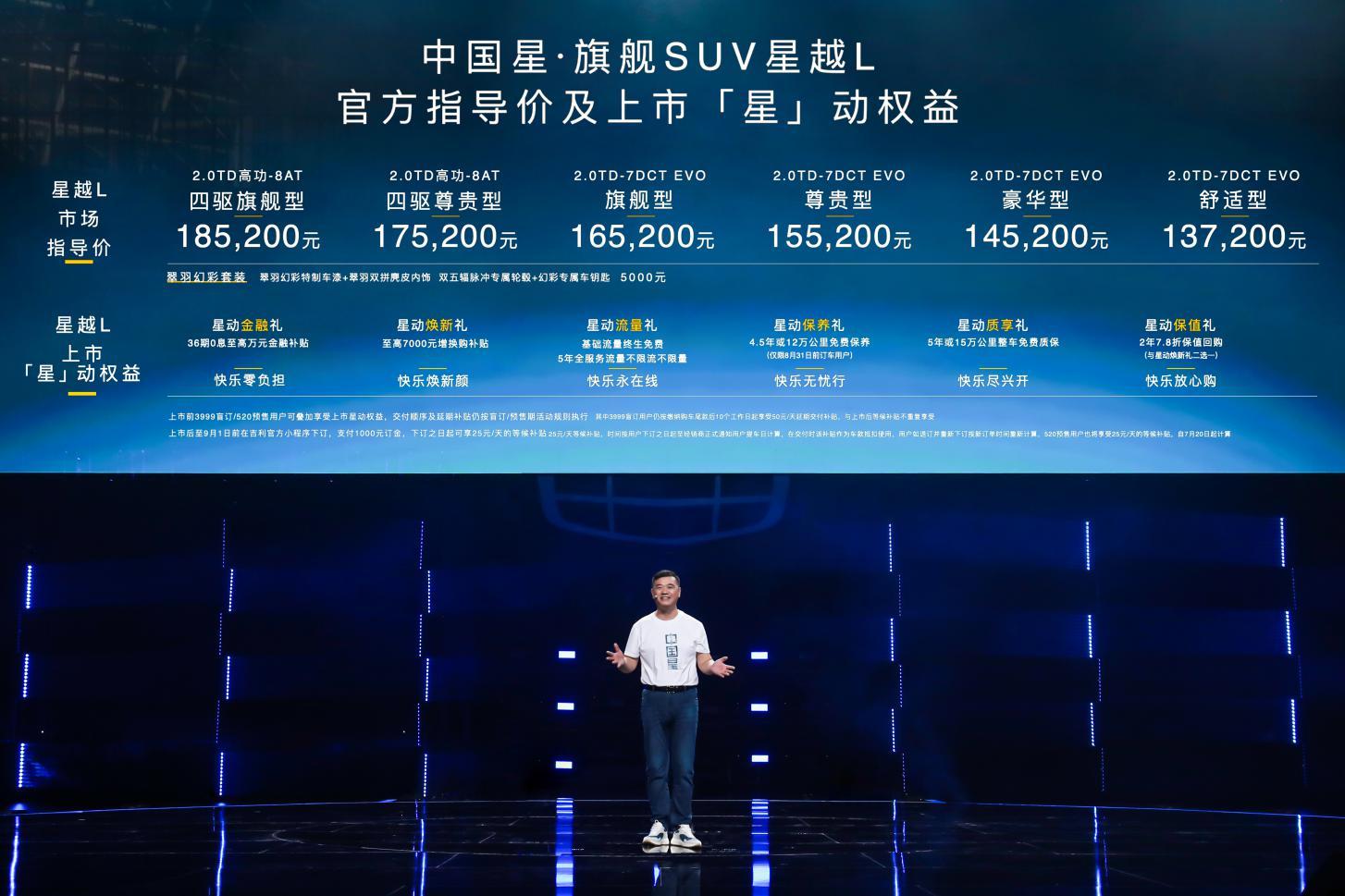 售价13.72-18.52万元, 中国星旗舰SUV吉利星越L杭州亚运馆全球上市