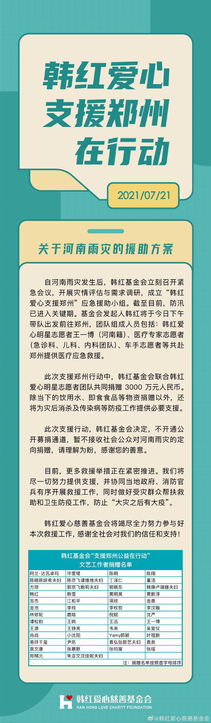 韩红带队志愿者前往郑州救援 河南籍艺人王一博同行