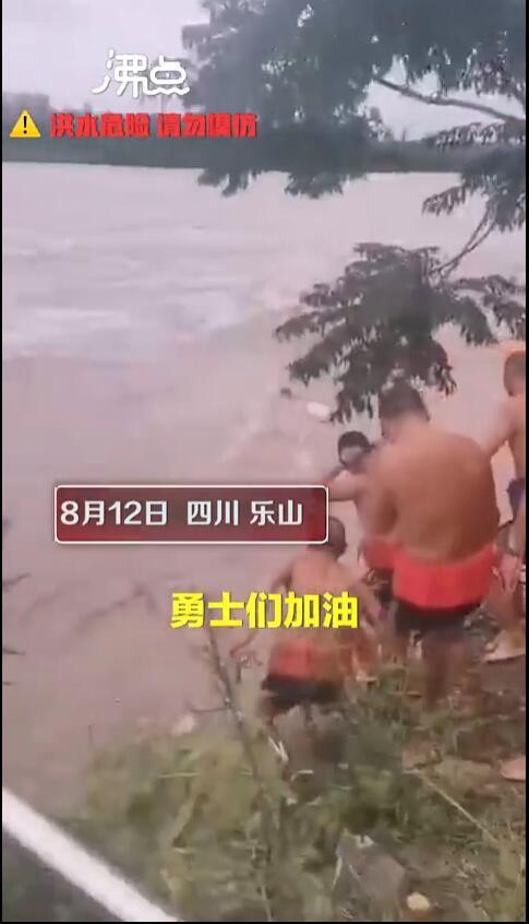 """四川乐山近10人组团洪水中游泳  网友:""""这是在玩命吗?"""""""
