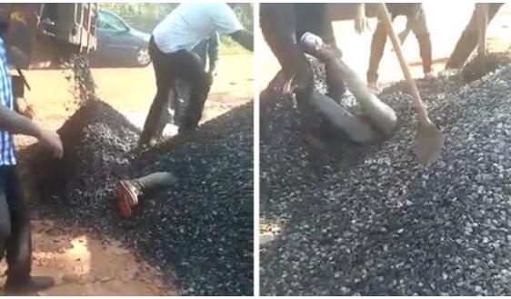 卡车倾卸碎石误将男子掩埋3分钟